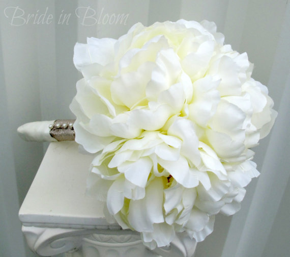 Wedding Flowers In Silk : Silk peony wedding bouquet cream bridal flowers bride in