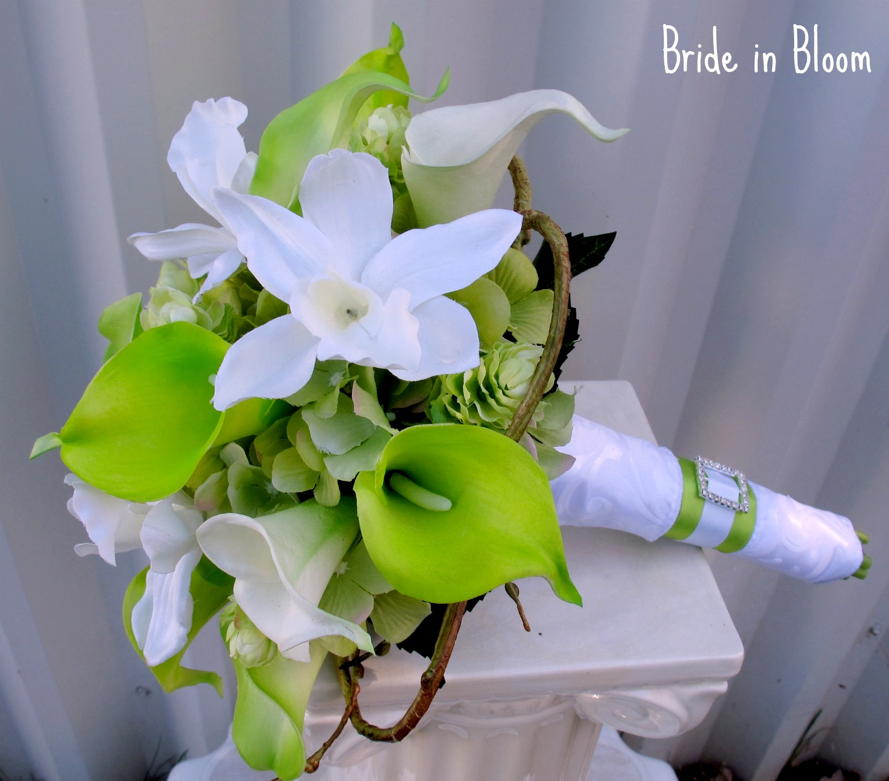 Lime Green Bridal Flowers : Lime green white calla lily orchid bridal bouquet bride