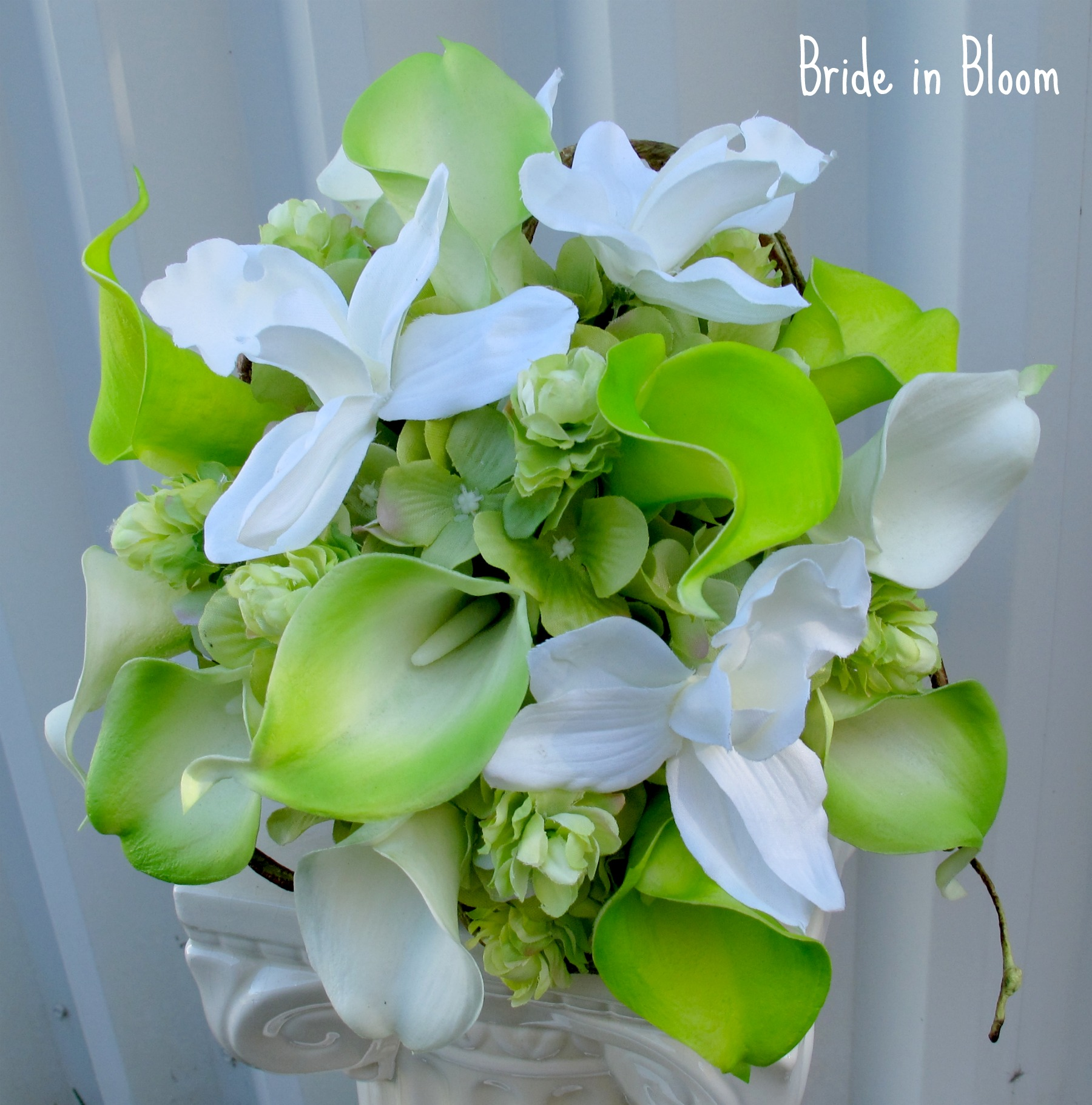 Silk Wedding Bouquets Orchids : Lime green white calla lily orchid bridal bouquet bride