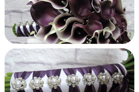 Cascading Wedding bouquet - Plum calla lily real touch wedding flowers