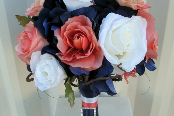 Coral navy white rose wedding bouquet