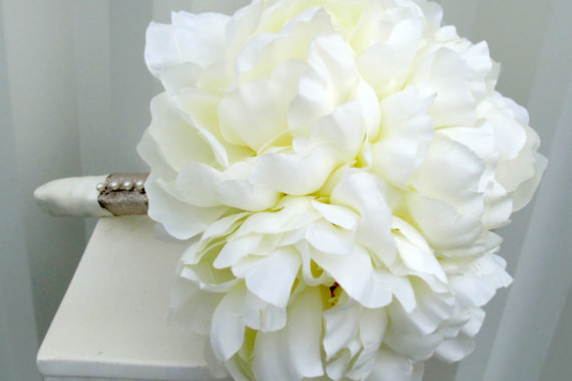 Silk Peony Wedding Bouquet Cream Bridal Flowers Bride In Bloom