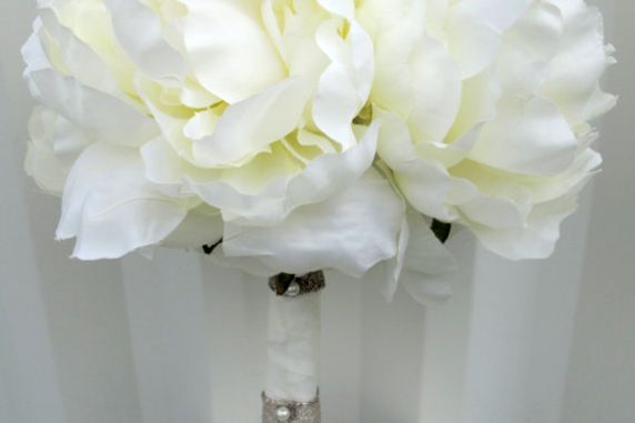 Bridal Bouquets Using Peonies : Silk peony wedding bouquet cream bridal flowers bride in