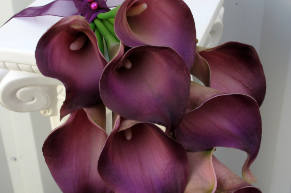 Eggplant plum calla lily wedding bouquet
