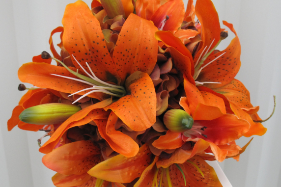 Tiger lily Wedding Bouquet silk bridal bouquet
