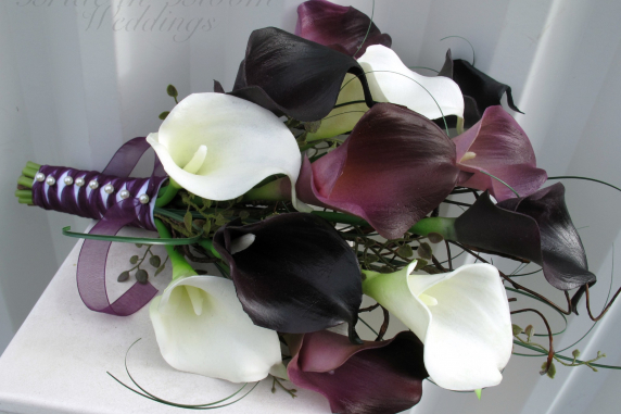 Dark plum purple white calla lily Bridal bouquet