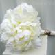 Cream peony wedding bouquet silk bridal flowers