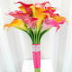 Tropical Wedding bouquet Real touch calla lily hot pink orange