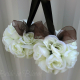 Flower girl pomander, brown and white kissing ball