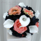 Coral navy calla lily wedding bouquet