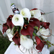 Red & white calla lily wedding bouquet