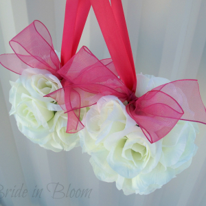 Wedding Pomander Hot pink and white Kissing ball