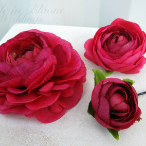 Wedding hair accessories Hot pink flower hair pins