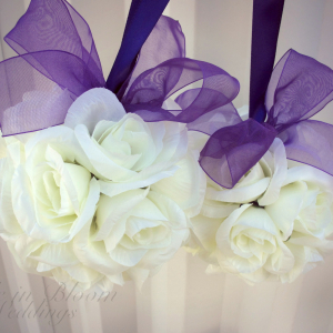Wedding pomander Purple and white Kissing ball