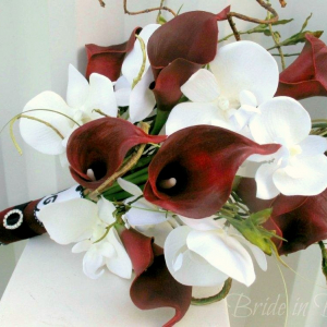 Red calla lily white orchid Wedding bouquet