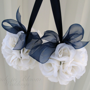 Wedding pomander navy blue and white Kissing ball