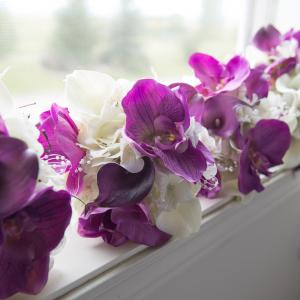 Lavender white orchid calla lily wedding bouquet set