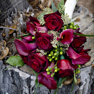 Black bacarra, majestic red calla lily presentation bouquet