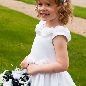 Blue white flower girl headband basket set