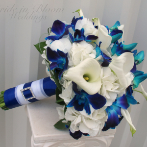 Blue orchid, white calla wedding bouquet