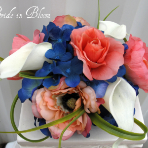 Coral rose navy white calla lily cake topper