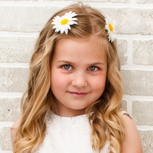 Flower girl daisy barrettes