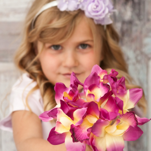 Fuchsia flower girl orchid bouquet