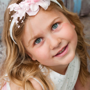 Pink flower girl headband