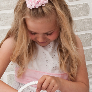Flower girl loopy ribbon barrette