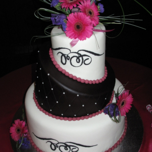 Hot pink gerbera daisy purple cake topper
