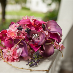 Hot pink orchid & plum calla wedding bouquets