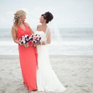 Coral navy calla wedding bouquet