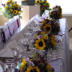 Sunflower banquet centerpieces