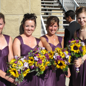 Sunflower purple orchid wedding bouquet