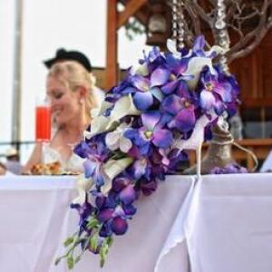 Blue orchid cascade bouquet