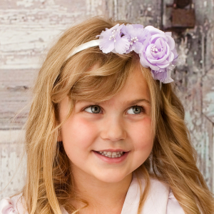 Lavender flower girl barrette