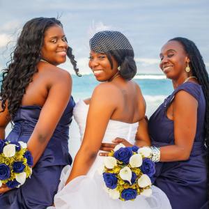 Navy sage calla lily rose wedding bouquets