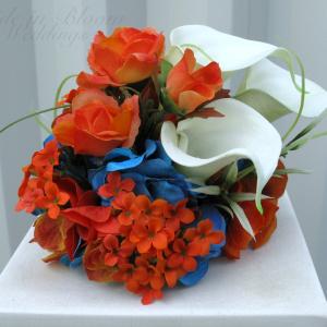 Orange rose cream calla cake topper