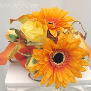Tangerine orange gerbera daisy calla cake topper