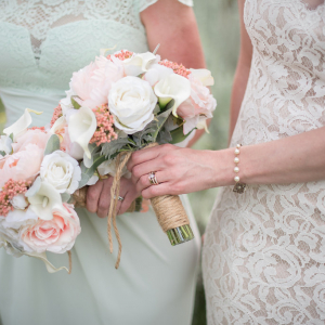 Peach & Cream peony calla Wedding bouquet