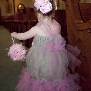 Pink feather pearl flower girl pomander