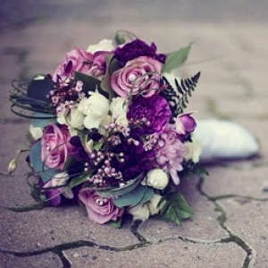 Purple lavender orchid wedding bouquet