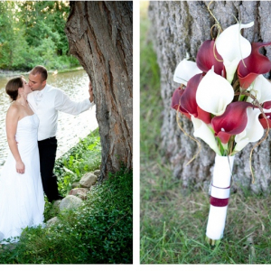 Red white calla lily beach wedding bouquet