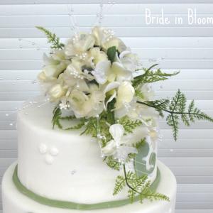 Sage green & cream cake topper