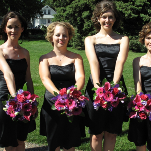 Hot pink calla purple orchid wedding bouquet