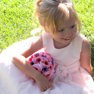 Pink purple daisy rose flower girl pomander