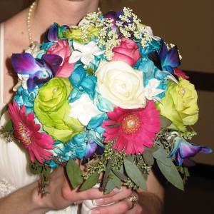 Colorful mixed wedding bouquet
