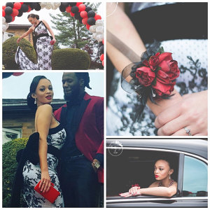 Red black sweetheart rose wrist corsage
