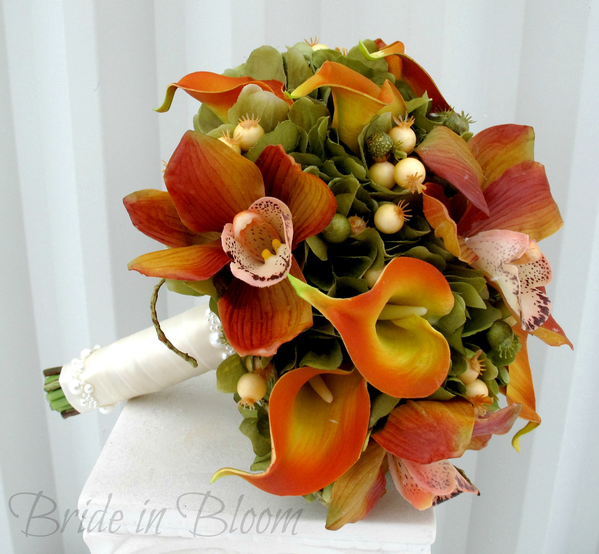 Silk Wedding Bouquets Orchids : Orchid calla lily silk wedding bouquet bride in bloom