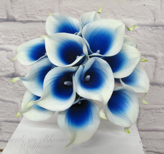 royal blue picasso calla lily wedding bouquet bride in bloom. Black Bedroom Furniture Sets. Home Design Ideas